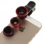 Multifunkční objektiv 4v1 s klipem pro Apple iPhone - 180° rybí oko / 0,67x širokoúhlý objektiv / makro objektiv