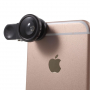 Multifunkční objektiv 3v1 s klipem pro Apple iPhone a jiná zařízení - 180° rybí oko / 0,67x širokoúhlý objektiv / makro objektiv / kruhový filtr