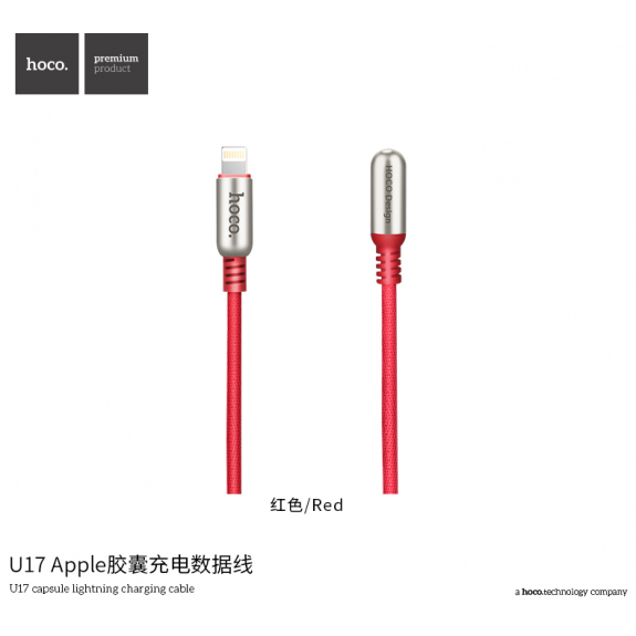 HOCO stylový kabel pro Apple zařízení - 2m - červený - možnost vrátit zboží ZDARMA do 30ti dní