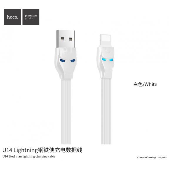 HOCO nabíjecí a synchronizační kabel Iron Man pro Apple zařízení - 1m - stříbrný - možnost vrátit zboží ZDARMA do 30ti dní