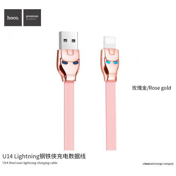 HOCO nabíjecí a synchronizační kabel Iron Man pro Apple zařízení - 1m - růžovozlatý - možnost vrátit zboží ZDARMA do 30ti dní