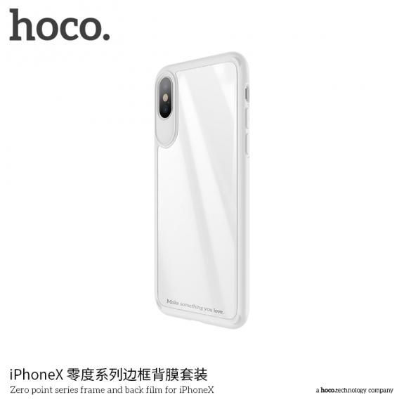 HOCO sada silikonového rámečku a tvrzeného skla na zadní stranu pro Apple iPhone XS / iPhone X - bílá - možnost vrátit zboží ZDARMA do 30ti dní