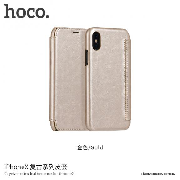 HOCO flipové pouzdro pro Apple iPhone XS / iPhone X - zlaté - možnost vrátit zboží ZDARMA do 30ti dní