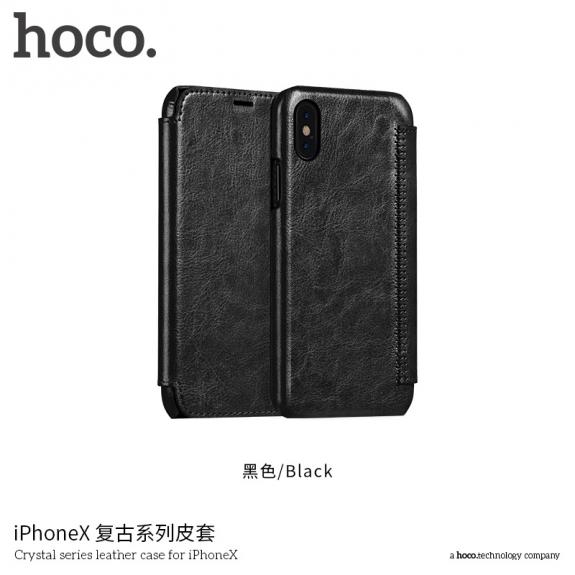HOCO flipové pouzdro pro Apple iPhone XS / iPhone X - černé - možnost vrátit zboží ZDARMA do 30ti dní