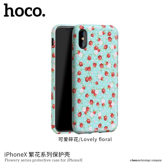 HOCO ochranný kryt pro Apple iPhone XS / iPhone X - tyrkysový s květinami - možnost vrátit zboží ZDARMA do 30ti dní