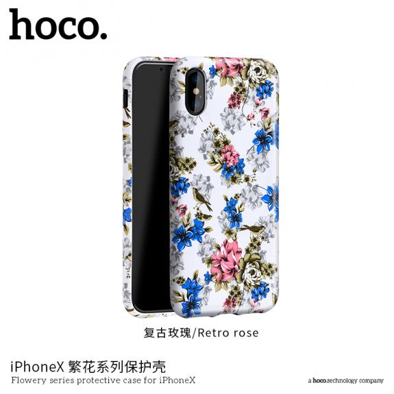 HOCO ochranný kryt pro Apple iPhone XS / iPhone X - bílý s květinami - možnost vrátit zboží ZDARMA do 30ti dní