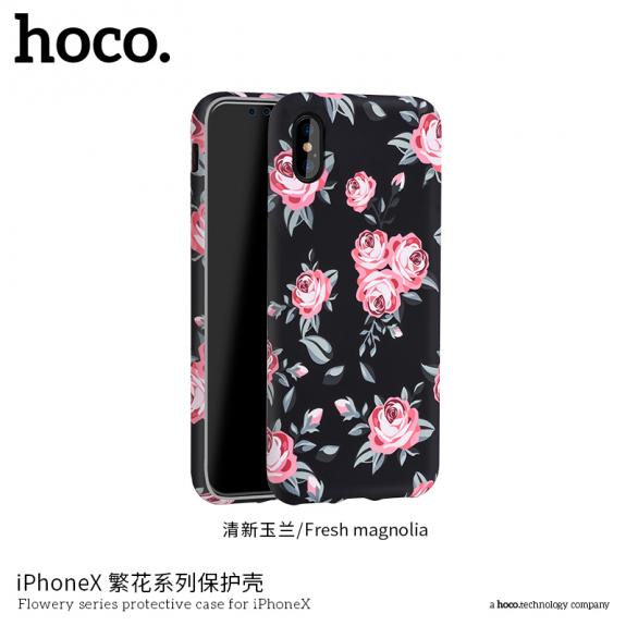HOCO ochranný kryt pro Apple iPhone XS / iPhone X - černý s růžemi - možnost vrátit zboží ZDARMA do 30ti dní