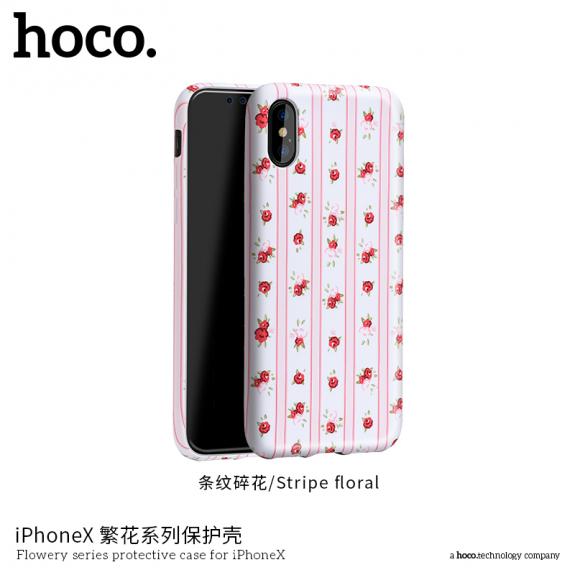 HOCO ochranný kryt pro Apple iPhone XS / iPhone X - květiny s proužky - možnost vrátit zboží ZDARMA do 30ti dní