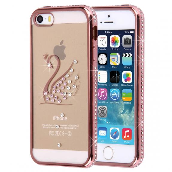 AppleKing růžovozlatý obal s kamínky pro Apple iPhone 5 / 5S / SE - labuť - možnost vrátit zboží ZDARMA do 30ti dní
