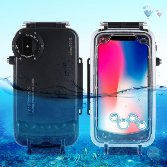 AppleKing vodotěsné pouzdro do hloubky 40m pro iPhone XS / iPhone X - černé - možnost vrátit zboží ZDARMA do 30ti dní