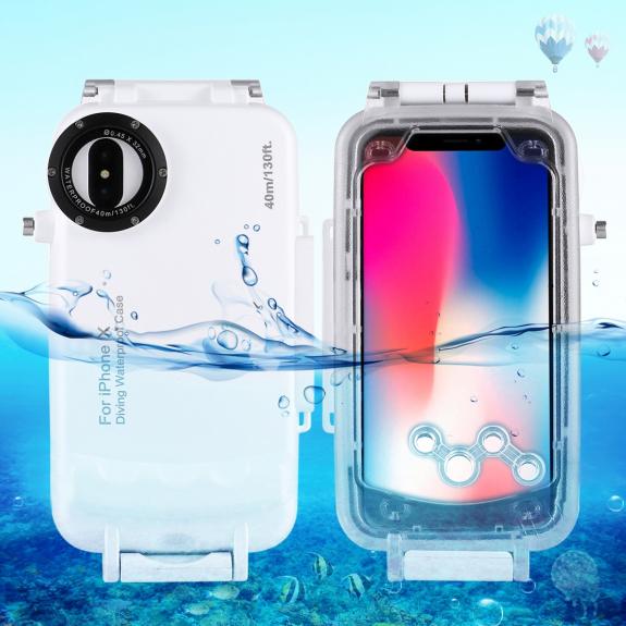AppleKing vodotěsné pouzdro do hloubky 40m pro iPhone XS / iPhone X - bílé - možnost vrátit zboží ZDARMA do 30ti dní