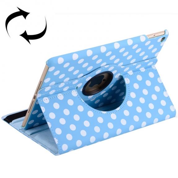 Pouzdro / kryt s otočným držákem pro iPad Air 2 - modré s bílými tečkami