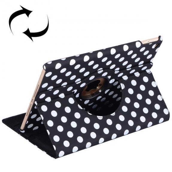 Pouzdro / kryt s otočným stojánkem pro Apple iPad Air 2 - černé s bílými tečkami