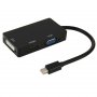 Redukce / adaptér 3v1 Mini DisplayPort (Thunderbolt) na HDMI / VGA / DVI - černá