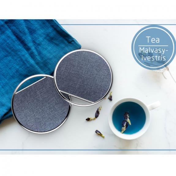 AppleKing luxusní bezdrátová Qi nabíječka s textilním povrchem pro Apple iPhone - modrá - možnost vrátit zboží ZDARMA do 30ti dní