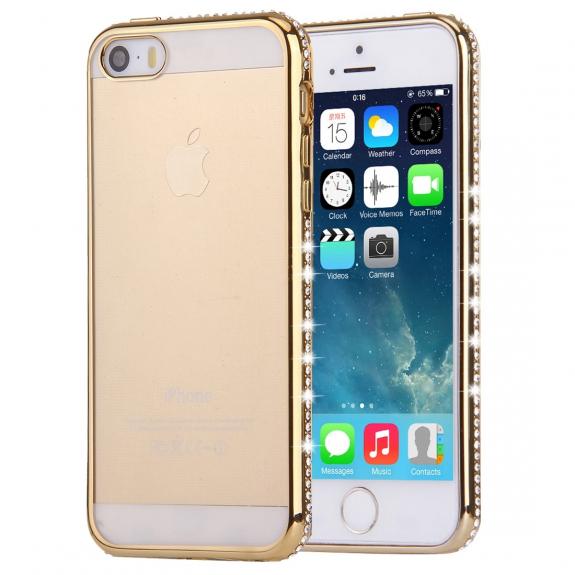 AppleKing luxusní průhledný ochranný kryt s kamínky ve stylu diamantu pro Apple 5 / 5S / SE - zlatý - možnost vrátit zboží ZDARMA do 30ti dní