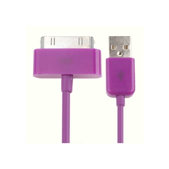 AppleKing synchronizační a nabíjecí 30pin kabel pro iPhone 4 / 4S / 3G / 3GS / iPad 2 / iPod Touch - 1m - fialový - možnost vrátit zboží ZDARMA do 30ti dní
