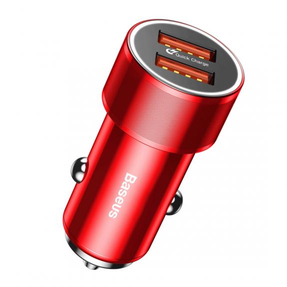 BASEUS nabíječka do auta se dvěma USB porty pro Apple iPhone / iPad / iPod - červená - možnost vrátit zboží ZDARMA do 30ti dní