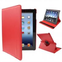 Pouzdro / kryt s otočným držákem a funkcí uspání pro iPad 2. / 3. / 4. gen. - červené