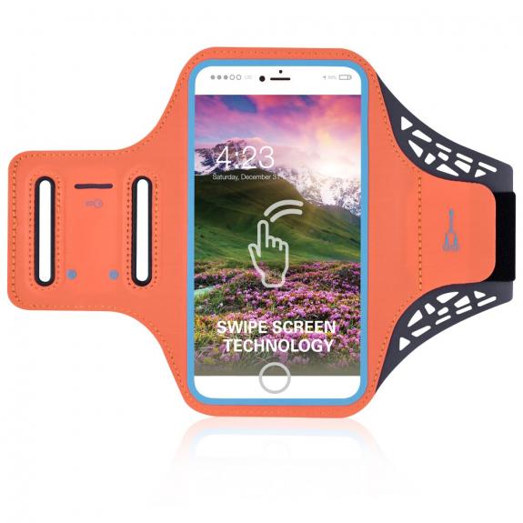 AppleKing sportovní potu-odolné pouzdro na ruku pro Apple iPhone SE (2020) / 8 / 7 / 6S / 6 - oranžové - možnost vrátit zboží ZDARMA do 30ti dní