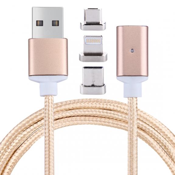 AppleKing magnetický kabel s konektory micro USB / USB-C / lightning pro Apple zařízení - 1m - růžovozlatý - možnost vrátit zboží ZDARMA do 30ti dní