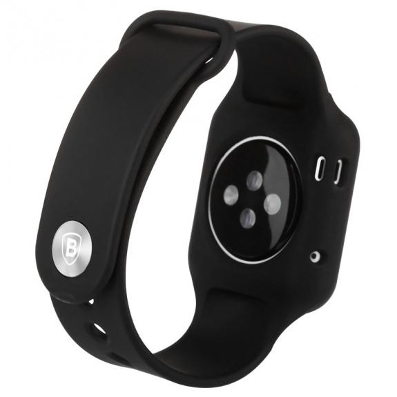 Baseus silikonový / gumový řemínek s pouzdrem pro Apple Watch 38mm - černý