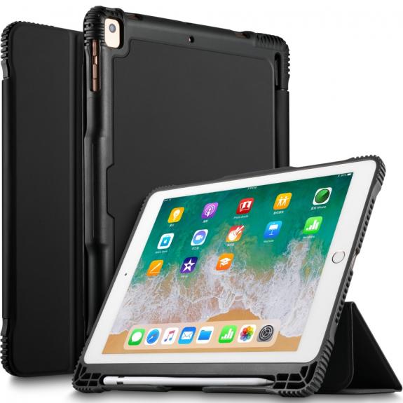 "AppleKing odolný ochranný kryt s prostorem pro Apple Pencil pro Apple iPad 9.7"" (2017 / 2018) / iPad Pro 9.7"" / iPad Air / iPad Air 2 - černý - možnost vrátit zboží ZDARMA do 30ti dní"