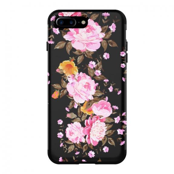 AppleKing super odolné pouzdro pro Apple iPhone 7 Plus / 8 Plus - černé s květinami - možnost vrátit zboží ZDARMA do 30ti dní