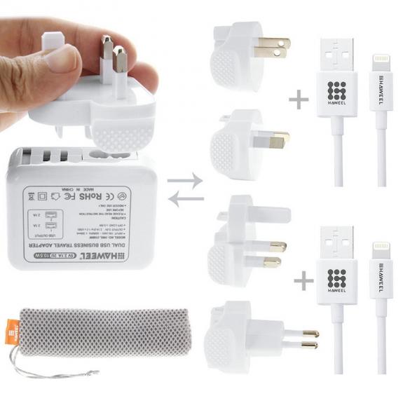 HAWEEL cestovní nabíjecí sada se čtyřmi koncovkami a dvěma kabely pro Apple zařízení - možnost vrátit zboží ZDARMA do 30ti dní