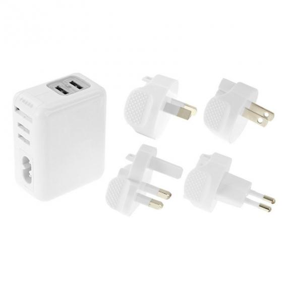 Haweel cestovní nabíjecí sada se čtyřmi koncovkami a dvěma kabely pro Apple zařízení - bílá - možnos