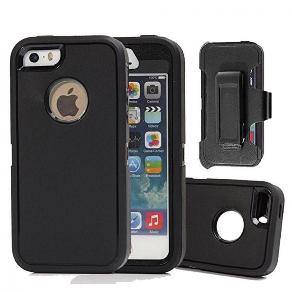AppleKing odolné pouzdro s klipem na pásek pro iPhone SE / 5 / 5S - černé - možnost vrátit zboží ZDARMA do 30ti dní