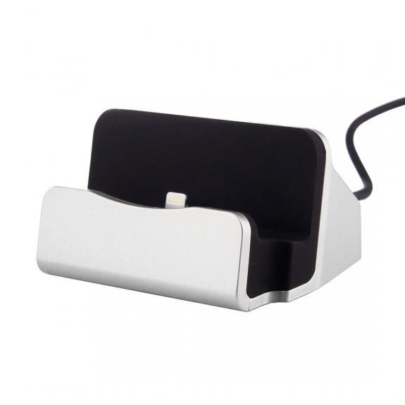 AppleKing nabíjecí a dokovací magnetická stanice pro iPhone - stříbrná - možnost vrátit zboží ZDARMA do 30ti dní