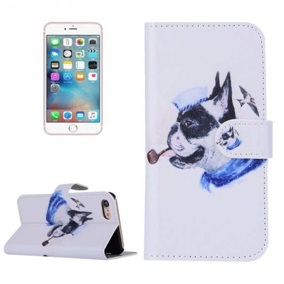 AppleKing otvírací / flip peněženkové pouzdro se stojánkem a sloty na karty pro Apple iPhone 7 - Buldok s fajfkou - možnost vrátit zboží ZDARMA do 30ti dní