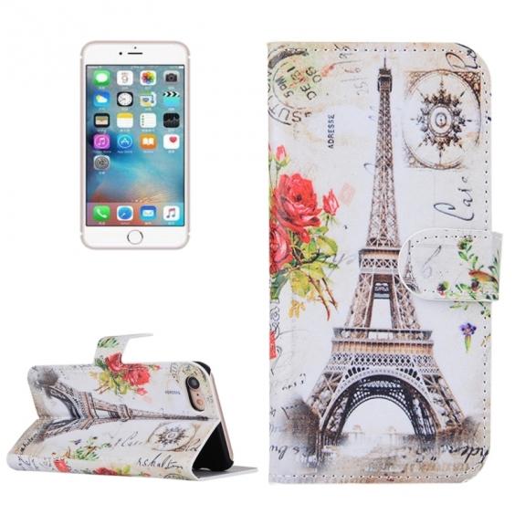 AppleKing otvírací / flip peněženkové pouzdro se stojánkem a sloty na karty pro Apple iPhone 7 - Kreslená Eiffelovka - možnost vrátit zboží ZDARMA do 30ti dní