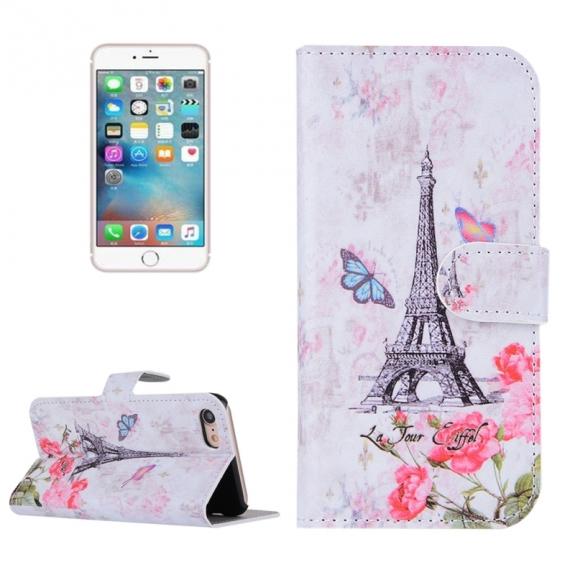 AppleKing otvírací / flip peněženkové pouzdro se stojánkem a sloty na karty pro Apple iPhone 7 - Eiffelovka s růžemi a motýli - možnost vrátit zboží ZDARMA do 30ti dní
