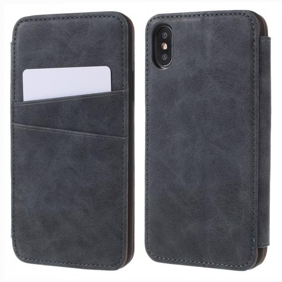 AppleKing flipové vintage pouzdro pro iPhone XS / iPhone X - šedé - možnost vrátit zboží ZDARMA do 30ti dní