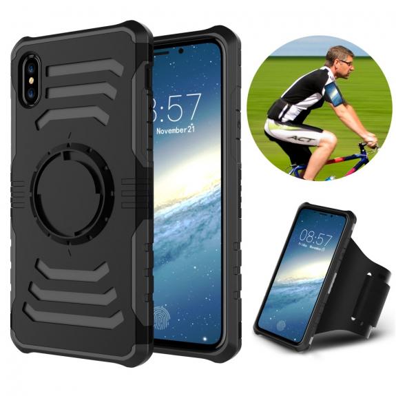 AppleKing odolný magnetický kryt s páskem na ruku iPhone XS / iPhone X - černá - možnost vrátit zboží ZDARMA do 30ti dní