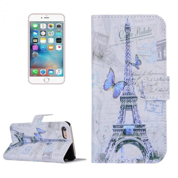 AppleKing otvírací / flip peněženkové pouzdro se stojánkem a sloty na karty pro Apple iPhone 7 - Eiffelovka a motýli - možnost vrátit zboží ZDARMA do 30ti dní