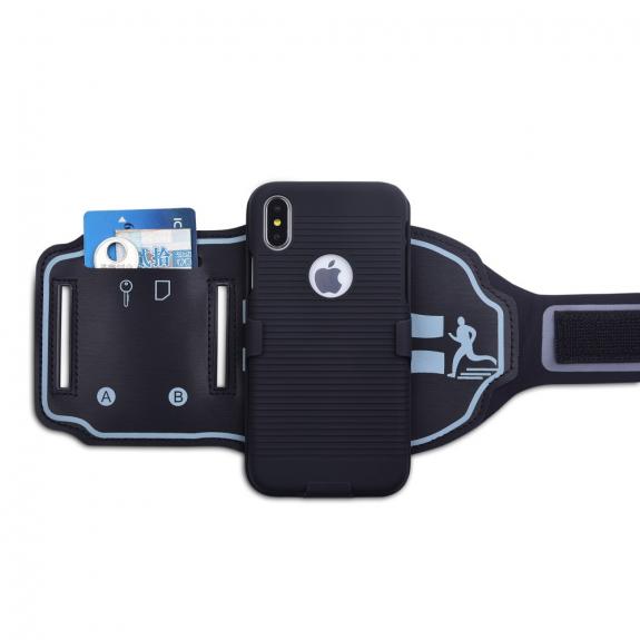 AppleKing sportovní odnímatelné pouzdro na ruku pro iPhone X / XS - černé - možnost vrátit zboží ZDARMA do 30ti dní