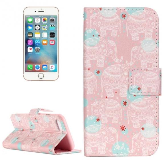 AppleKing otvírací / flip peněženkové pouzdro se stojánkem a sloty na karty pro Apple iPhone 7 - Růžový slon - možnost vrátit zboží ZDARMA do 30ti dní
