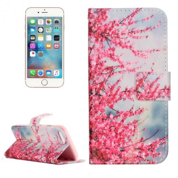 Otvírací / flip peněženkové pouzdro se stojánkem a sloty na karty pro Apple iPhone 8 / 7 - Rozkvetá broskev