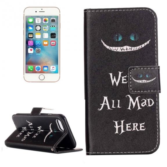 AppleKing otvírací / flip peněženkové pouzdro se stojánkem a sloty na karty pro Apple iPhone 7 - We´re All Mad Here - možnost vrátit zboží ZDARMA do 30ti dní