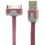 Plochý synchronizační a nabíjecí 30pin kabel pro iPhone / iPad / iPod - růžový