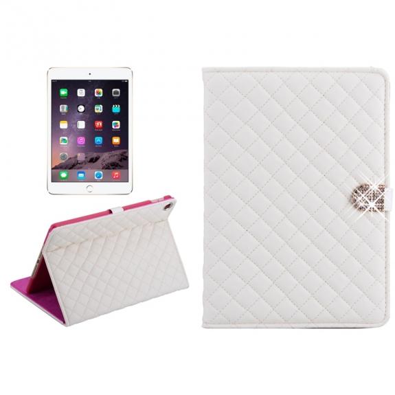 AppleKing pouzdro / kryt s integrovaným stojánkem pro iPad Air 2 - vzor kosočtverce - bílé - možnost vrátit zboží ZDARMA do 30ti dní