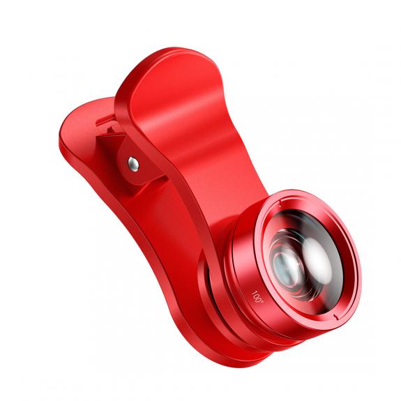 BASEUS 3v1 objektivy - širokoúhlý 100° / makro 15x zvětšení / Rybí oko - červená - možnost vrátit zboží ZDARMA do 30ti dní