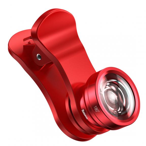 BASEUS 3v1 objektivy - širokoúhlý 120° / makro 15x zvětšení / Rybí oko - červená - možnost vrátit zboží ZDARMA do 30ti dní