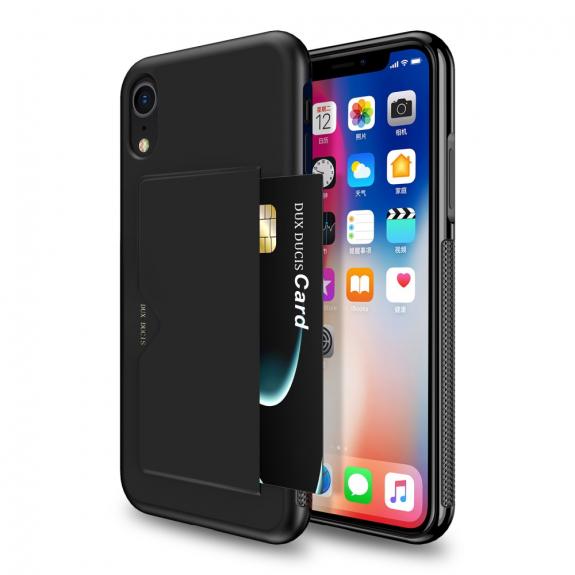 DUX DUCIS kryt s kapsou na kartu pro iPhone XR - černá - možnost vrátit zboží ZDARMA do 30ti dní