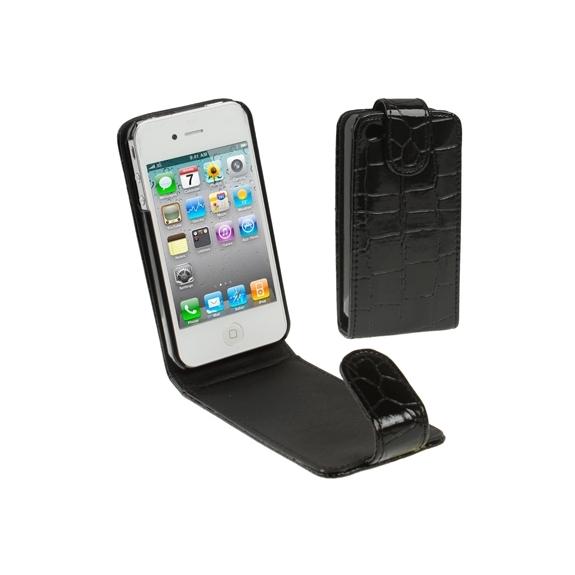 Vyklápěcí pouzdro pro Phone 4 / 4S ve stylu krokodýlí kůže - černé