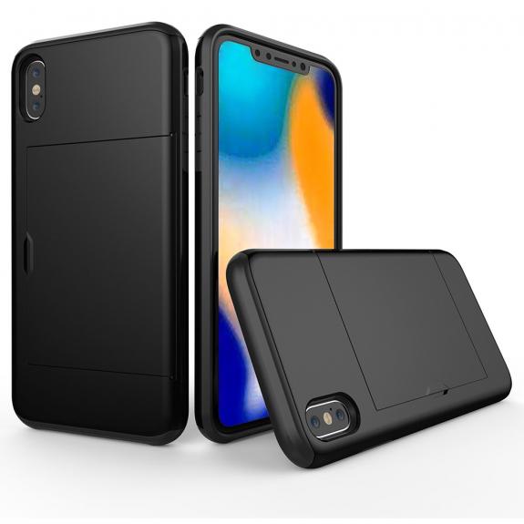 AppleKing kryt s prostorem na kartu pro iPhone XS Max - černá - možnost vrátit zboží ZDARMA do 30ti dní