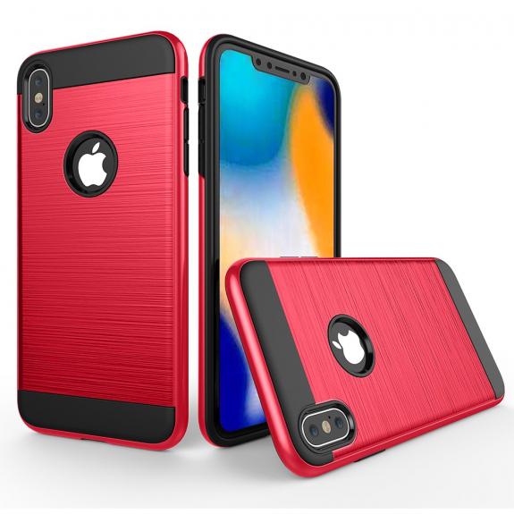 AppleKing odolný kryt na iPhone XS Max - broušená textura - červená - možnost vrátit zboží ZDARMA do 30ti dní